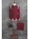 Moenstret Skreddersydd Bomull / Polyester Dress - Med hakk Enkelt Brystet Enn-knapp
