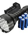 אש פנס LED LED Cree® XM-L T6 12 Emitters 5000 lm 5 מצב תאורה עם סוללות ומטען עמיד במים עמיד לחבטות אחיזה נגד החלקה מחנאות / צעידות / טיולי מערות שימוש יומיומי משטרה / צבא