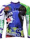 ILPALADINO Homme Manches Longues Maillot Velo Cyclisme - Bleu Cyclisme Maillot Hauts / Top Chaud Doublure Polaire Resistant aux ultraviolets Des sports Hiver Elasthanne VTT Velo tout terrain Velo