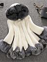 Γυναικεία Χειμώνας Μεγάλα Μεγέθη Μακρύ Faux Fur Coat, Συνδυασμός Χρωμάτων Άσπρο Με Κουκούλα Μακρυμάνικο Ψεύτικη Γούνα Λευκό / Μαύρο 4XL / XXXXXL / XXXXXXL