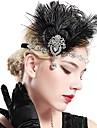 The Great Gatsby Vintage 1920s Roaring 20s Costume Women\'s Flapper Headband Headwear Head Jewelry Black Vintage Cosplay Party Prom / Feather