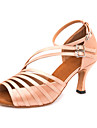 Pentru femei Pantofi Dans Latin Satin Călcâi / Adidași Cataramă Subțire superioară Personalizabili Pantofi de dans Gri Închis / Culoarea pielii