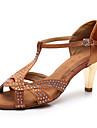 Pentru femei Pantofi Dans Latin Satin Călcâi Sclipici Strălucitor / Detalii Cristal / Strălucire Toc Cubanez Personalizabili Pantofi de dans Maro