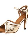 בגדי ריקוד נשים נעליים לטיניות PU סנדלים / נעלי ספורט שחבור סלים גבוהה עקב מותאם אישית נעלי ריקוד זהב