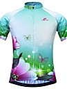 JESOCYCLING Women\'s Short Sleeve Cycling Jersey - Green Floral / Botanical Bike Jersey Top Quick Dry Sports 100% Polyester Mountain Bike MTB Road Bike Cycling Clothing Apparel / Stretchy