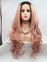 Synthetische Lace Front Peruecken Grosse Wellen Rosa Stufenhaarschnitt Schwarz / Rosa 130% Human Hair Dichte Synthetische Haare 24 Zoll Damen Damen Rosa Peruecke Lang Spitzenfront Sylvia