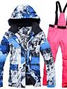 Femme Veste et Pantalons de Ski Coupe Vent Chaud Respirabilite Sports d\'hiver Coton Polyester Toile de jean Ensemble de Vetements Tenue de Ski / Hiver