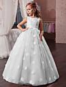 Princesse Long Robe de Demoiselle d\'Honneur Fille - Tulle / Mikado Sans Manches Bijoux avec Appliques par LAN TING Express