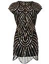 غاتسبي العظيم عتيق عشرينيات كوستيوم نسائي أزياء الحفلة اللباس الزعنفة أسود عتيقة تأثيري ترترة مناسب للحفلات بدون كم جوهرة