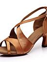 Pentru femei Pantofi Dans Latin Satin Sandale / Călcâi Toc Cubanez Personalizabili Pantofi de dans Maro
