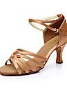 בגדי ריקוד נשים נעליים לטיניות / נעלי סלסה עור PU / סטן סנדלים אבזם עקב מותאם מותאם אישית נעלי ריקוד כסף / חום / מוזהב / EU40