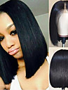 Virgin Human Hair Lace Front Wig Short Bob Brazilian Hair Silky Straight Black Wig 130% Density with Baby Hair Natural Hairline African American Wig For Black Women With Bleached Knots Natural Black