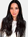 Человеческие волосы без парики Натуральные волосы Естественный прямой Средняя часть Модный дизайн / Новый дизайн / Удобный Черный Длинные Без шапочки-основы Парик Жен. / Природные волосы