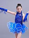 الرقص اللاتيني / اطفال ملابس الرقص أزياء للفتيات التدريب / أداء بوليستر / شبكة كشاكش / شرابة / شىء صغير براق بدون كم فستان / الأكمام