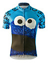 SQRIDER สำหรับผู้ชาย แขนสั้น Cycling Jersey - สีน้ำเงิน การ์ตูน จักรยาน เสื้อยืด Tops ระบายอากาศ แห้งเร็ว ออกแบบตามสรีระ กีฬา Terylene ขี่จักรยานปีนเขา Road Cycling เสื้อผ้าถัก / ซิปกันน้ำ