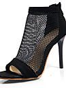 Mulheres Jeans Primavera Verao Sandalias Salto Agulha Peep Toe Preto / Festas & Noite