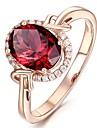 女性用 レッド ガーネット ソリティア 指輪 婚約指輪 ゴールドメッキ 幸福 ぜいたく ヴィンテージ ファッションリング ジュエリー レッド 用途 結婚式 婚約