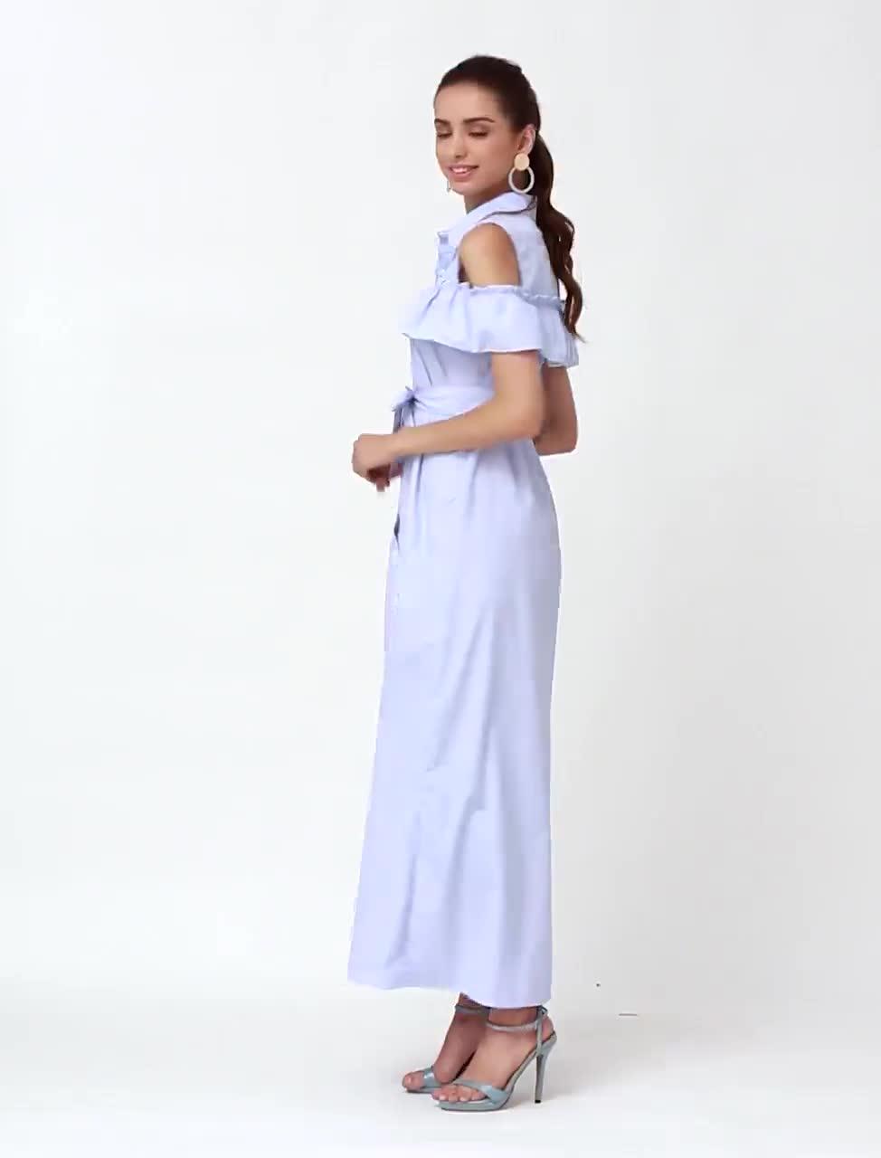 Lässig tragen blau gestreift maxi Kleid Strand Brautkleider Frühling ...