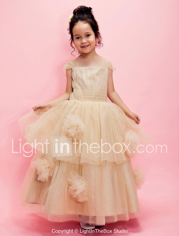 Una línea de vestido de bola longitud de tobillo vestido de niña de ...