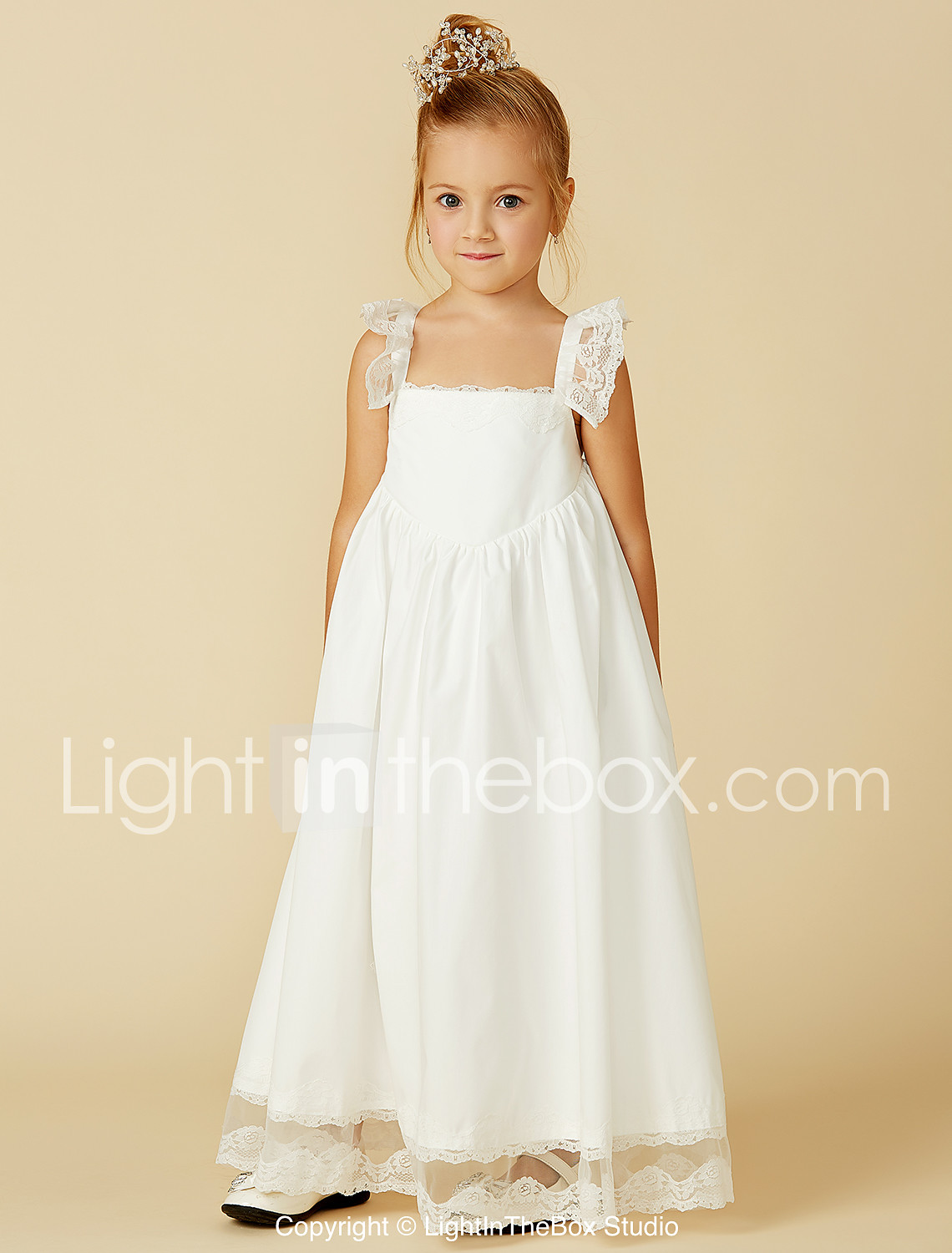 685ab38e2 A-Line Ankle Length Flower Girl Dress - Cotton / Lace Sleeveless Straps  with Pleats by LAN TING BRIDE® 4165924 2019 – $56.99